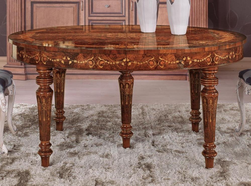 Malvezzi tavoli tavolo allungabile intarsiato in radica di for Tavolo in noce allungabile